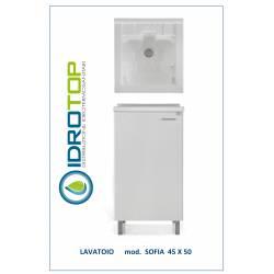 Lavatoio L45x50 Mod. SOFIA completo di ASSE LEGNO-SIFONE-PILETTA