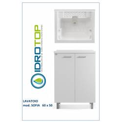 Lavatoio L60x50 Mod. SOFIA completo di ASSE LEGNO-SIFONE-PILETTA