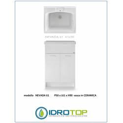 Lavatoio VASCA CERAMICA Mod. NEVADA 61   -L61xp50  completo di ASSE LEGNO-SIFONE-PILETTA