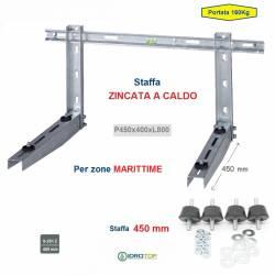 Staffa Regolabile ZINCATA a CALDO cm 45 per Condizionatore 160 Kg+kit antivibranti
