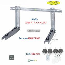 Staffa Regolabile ZINCATA a CALDO cm 52 per Condizionatore 160 Kg+kit antivibranti