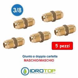 "Kit 5 Nipplo Raccordo Sae 3/8"" M/M Giunto-Bocchettone a Doppia Cartella"