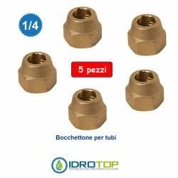"""Kit 5 Bocchettone con Filetto1/4"""" Sae per Tubi Climatizzatori-Giunto"""