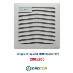 Griglia di Aerazione/Ripresa 200x200mm in ABS con Filtro per Quadri Elettrici