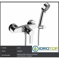 Miscelatore doccia esterno con kit doccia a 4 funzioni Remer
