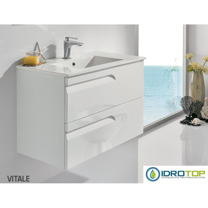Mobile Bagno VITALE Bianco Sospeso 80cm con Lavabo in Ceramica-Specchio e Lampada
