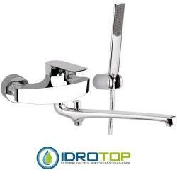 Miscelatore INFINITY LAVELLO/VASCA con CANNA LUNGA 30 cm completo di kit doccia in Ottone Cromato Remer